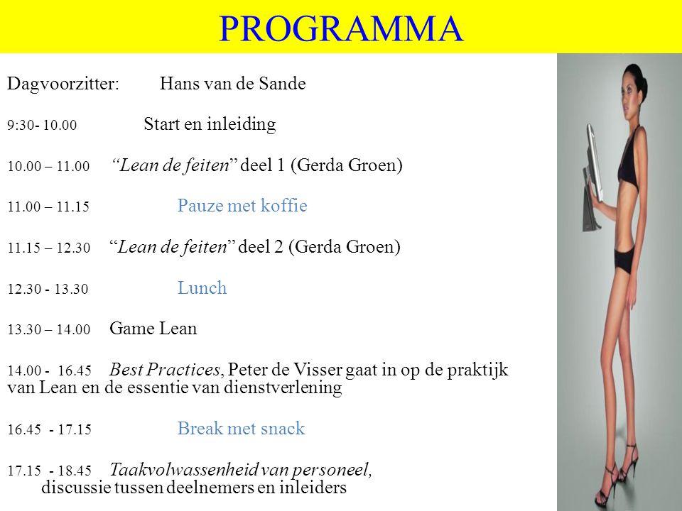 """©vandeSandeinlezingen,2011 PROGRAMMA Dagvoorzitter: Hans van de Sande 9:30- 10.00 Start en inleiding 10.00 – 11.00 """"Lean de feiten"""" deel 1 (Gerda Groe"""