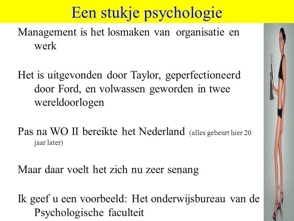 ©vandeSandeinlezingen,2011 Een stukje psychologie Management is het losmaken van organisatie en werk Het is uitgevonden door Taylor, geperfectioneerd
