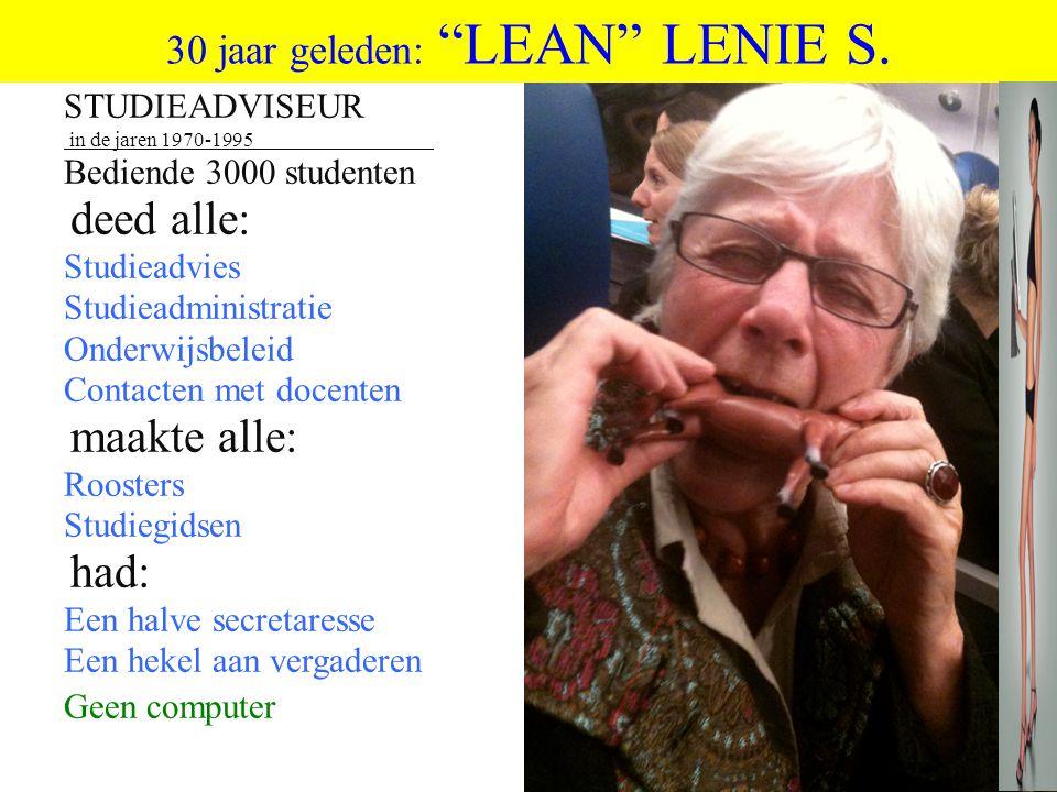 """©vandeSandeinlezingen,2011 30 jaar geleden: """"LEAN"""" LENIE S. STUDIEADVISEUR in de jaren 1970-1995 Bediende 3000 studenten deed alle: Studieadvies Studi"""