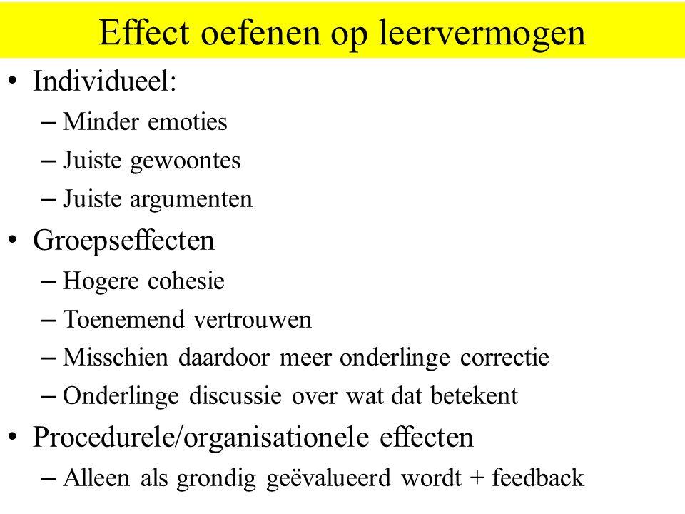 Effect oefenen op leervermogen Individueel: – Minder emoties – Juiste gewoontes – Juiste argumenten Groepseffecten – Hogere cohesie – Toenemend vertrouwen – Misschien daardoor meer onderlinge correctie – Onderlinge discussie over wat dat betekent Procedurele/organisationele effecten – Alleen als grondig geëvalueerd wordt + feedback