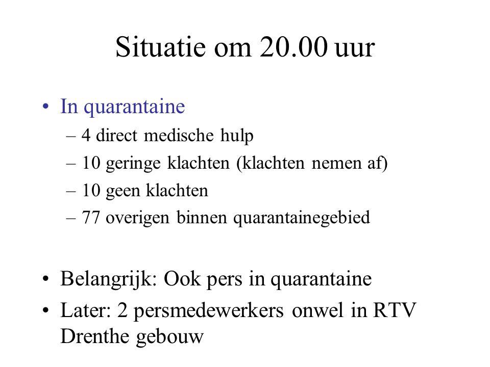 Situatie om 20.00 uur In quarantaine –4 direct medische hulp –10 geringe klachten (klachten nemen af) –10 geen klachten –77 overigen binnen quarantain