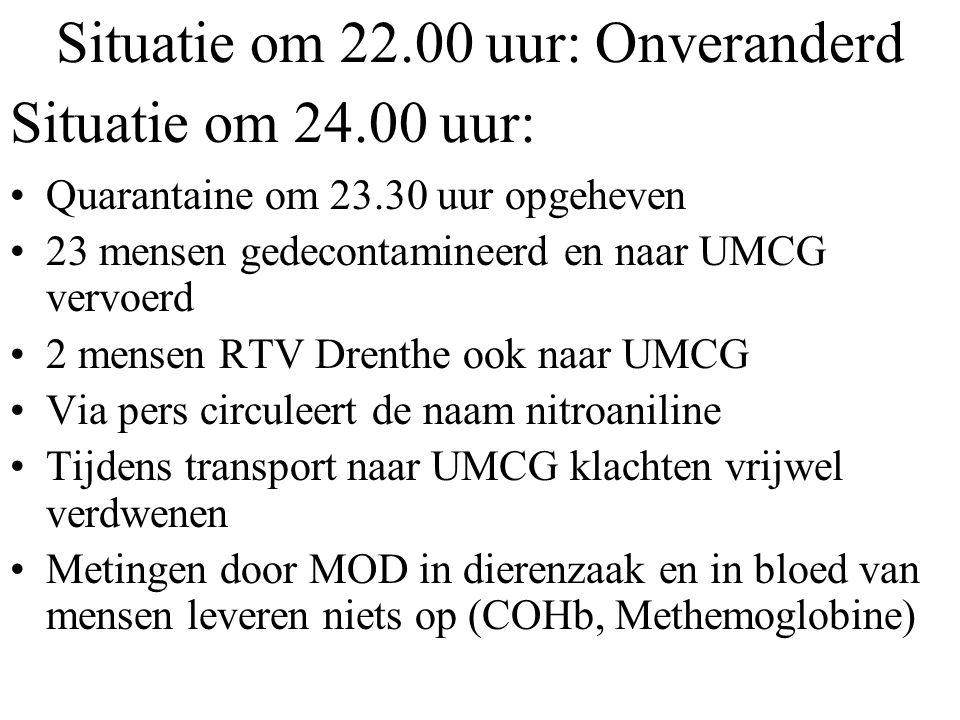 Situatie om 22.00 uur: Onveranderd Quarantaine om 23.30 uur opgeheven 23 mensen gedecontamineerd en naar UMCG vervoerd 2 mensen RTV Drenthe ook naar U