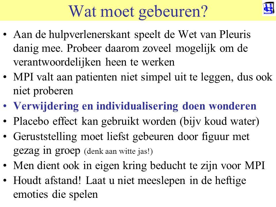 © 2011 JP van de Sande RuG Wat moet gebeuren? Aan de hulpverlenerskant speelt de Wet van Pleuris danig mee. Probeer daarom zoveel mogelijk om de veran