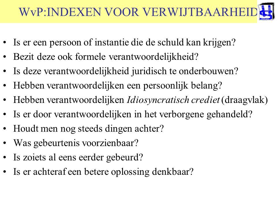 © 2006 JP van de Sande RuG WvP:INDEXEN VOOR VERWIJTBAARHEID Is er een persoon of instantie die de schuld kan krijgen? Bezit deze ook formele verantwoo