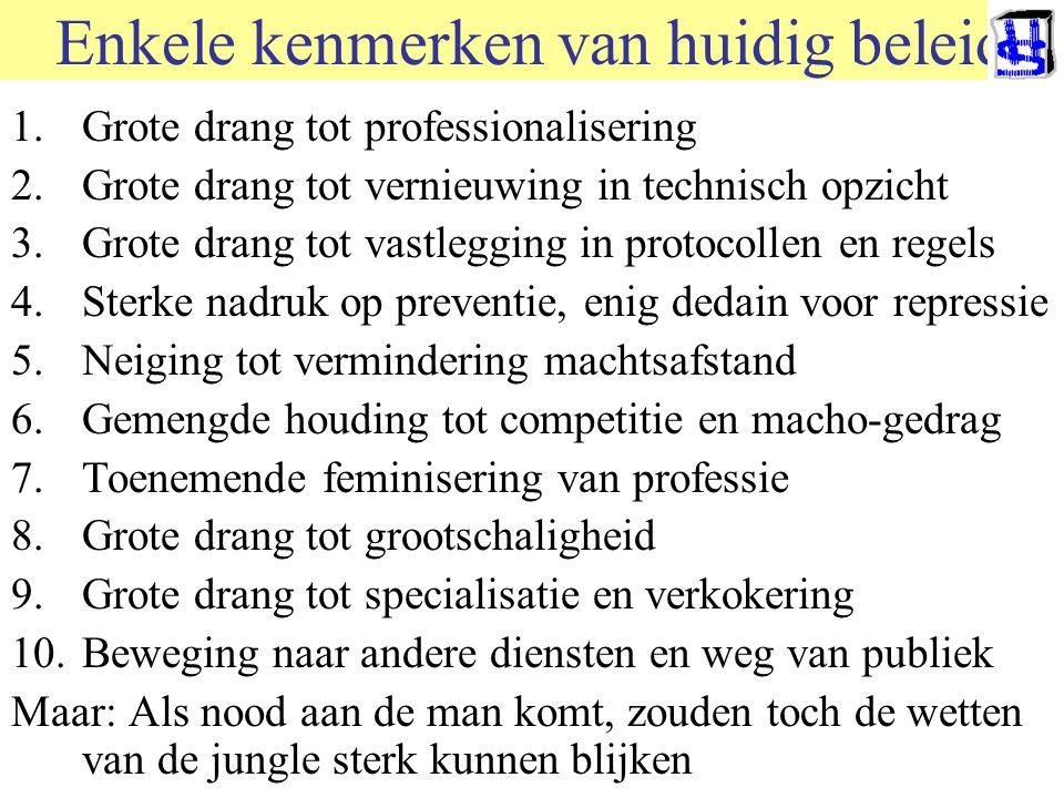 Enkele kenmerken van huidig beleid 1.Grote drang tot professionalisering 2.Grote drang tot vernieuwing in technisch opzicht 3.Grote drang tot vastlegg