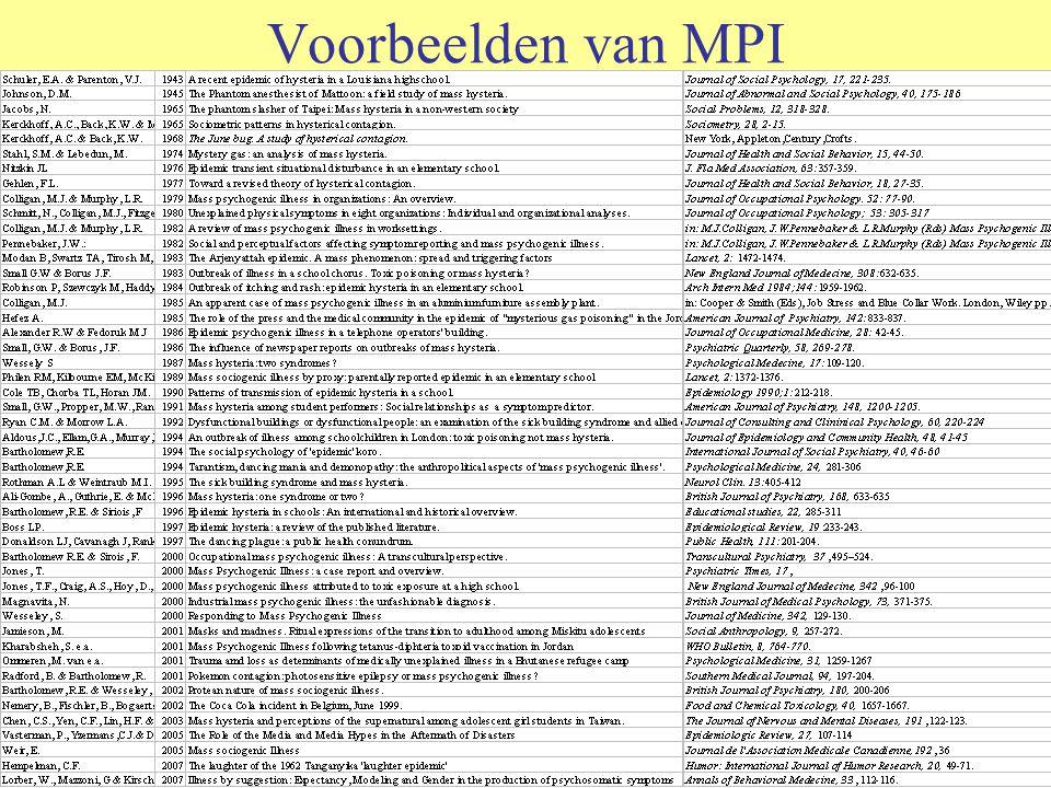 Voorbeelden van MPI Dancing mania (1450) Hysterische besmetting in kloosters en scholen Sick building syndrome Allerlei scares –Voor insecten, ziekteverwekkers, chemische substanties, hekserij, geneesmiddelen, technische fenomenen (flikkerende schermen) Recente voorbeelden –Oncontroleerbare schokken bij 21 meisjes (Vientiane 1999) –57 onwel op vliegveld Mebourne (2005) –Maleisische meisjes in paniek door geesten (2008)