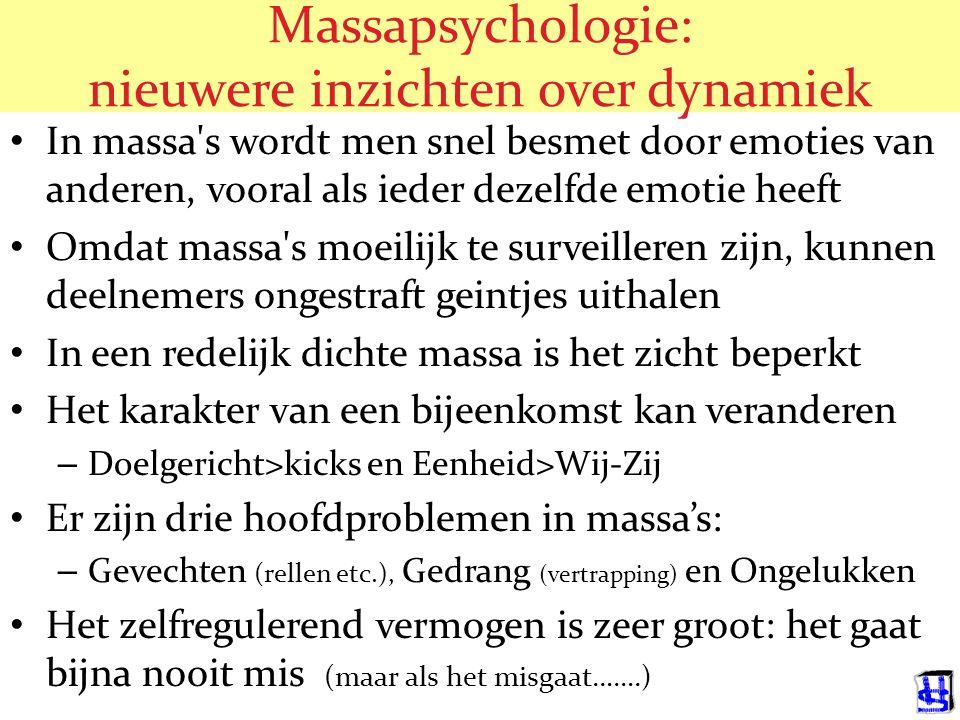 Massapsychologie: nieuwere inzichten over de 'eenheid' In massa's blijven mensen zichzelf In massa's kan men geen ingewikkeld gedrag vertonen Omdat ma