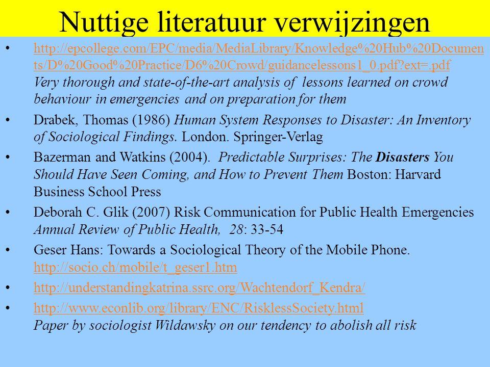180 Voor verdere studie Basistekst massapsychologie: – http://www.vandesandeinlezingen.nl/serv03.htm : Concept hoofdstukken 1, 2 & 3 van boek On Crowds http://www.vandesandeinlezingen.nl/serv03.htm – http://www.vandesandeinlezingen.nl/serv02.htm : Op deze pagina staan veel verwijzingen naar zaken die betrekking hebben op massa's, onder meer een Nderlandstalig boek over massapsychologie, een downloadversie van RAM, enkele filmpjes en nogal veel ppt files over dit en verwante onderwerpen.