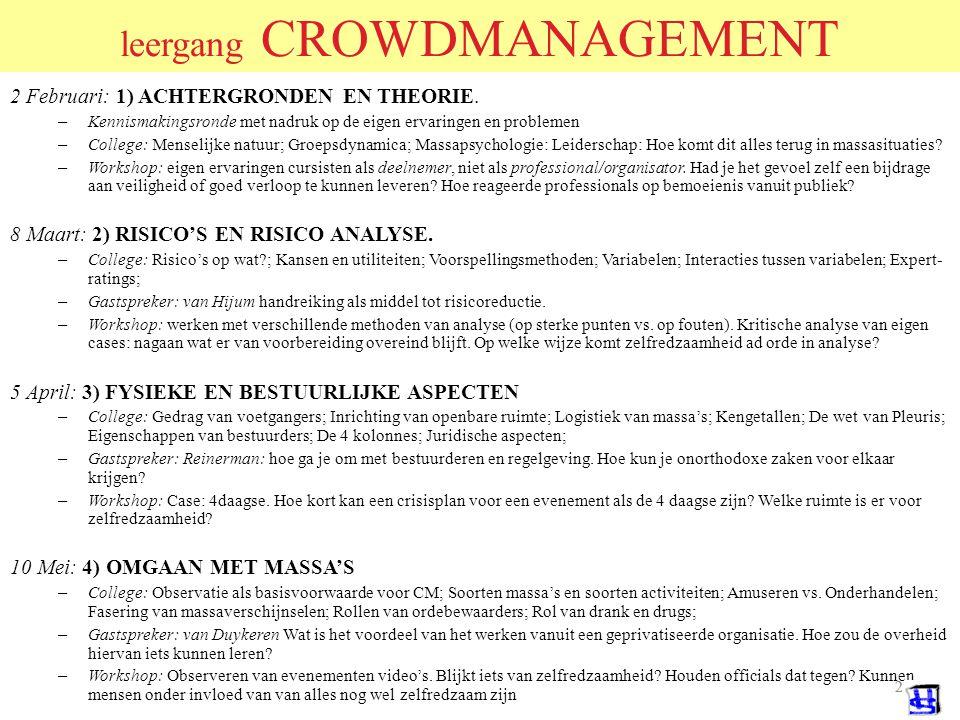 42 CROWD MANAGEMENT Conclusies & aanbevelingen Het draait altijd om hetzelfde en het herhaalt zich steeds