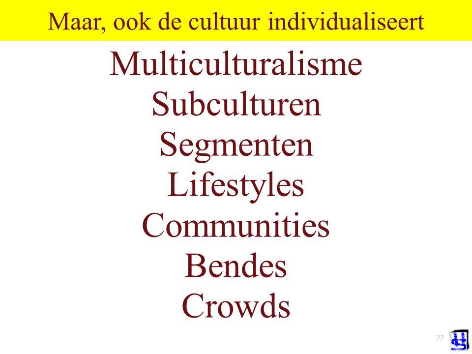 21 Individualisering PSYCHOLOGISCH: Kern van trend: alleen individu kan psychologische eigenschappen hebben.