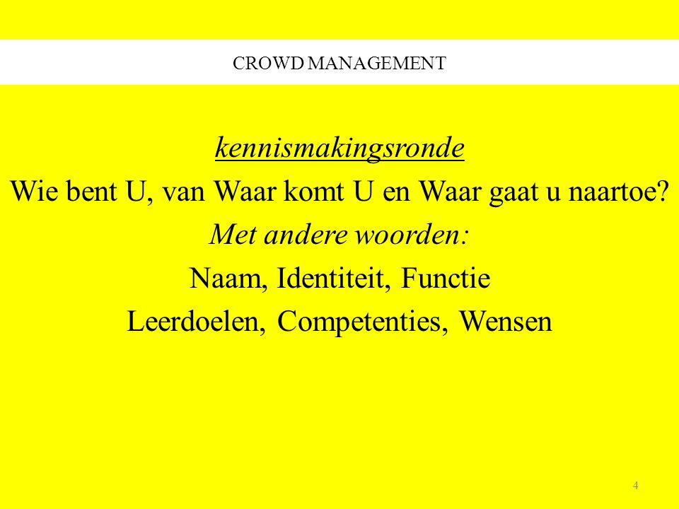 104 CROWD MANAGEMENT Fysiek Logistiek van massa's