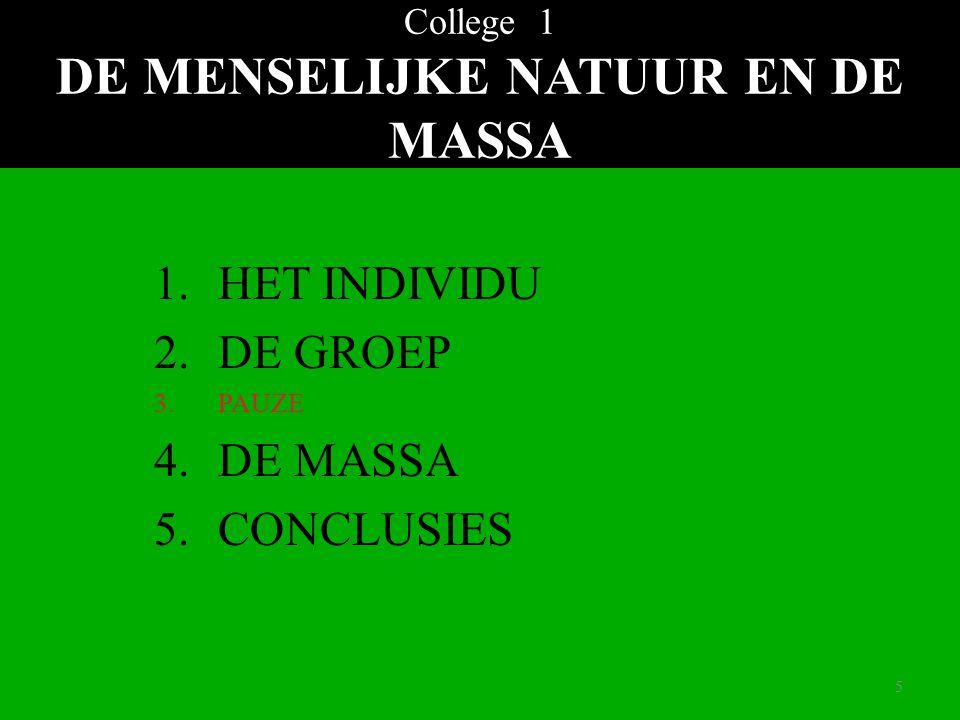 55 College 1 DE MENSELIJKE NATUUR EN DE MASSA 1.HET INDIVIDU 2.DE GROEP 3.PAUZE 4.DE MASSA 5.CONCLUSIES