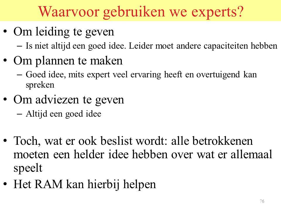 75 Wat weten we over experts.