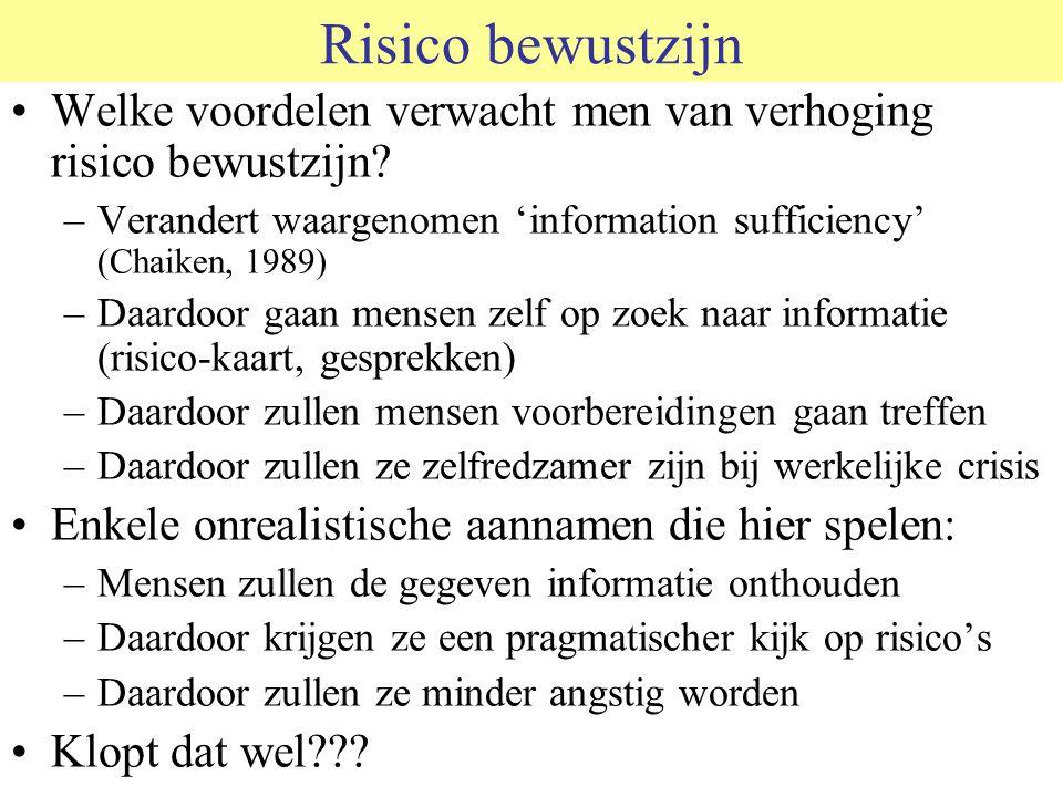 Risico bewustzijn Welke voordelen verwacht men van verhoging risico bewustzijn? –Verandert waargenomen 'information sufficiency' (Chaiken, 1989) –Daar