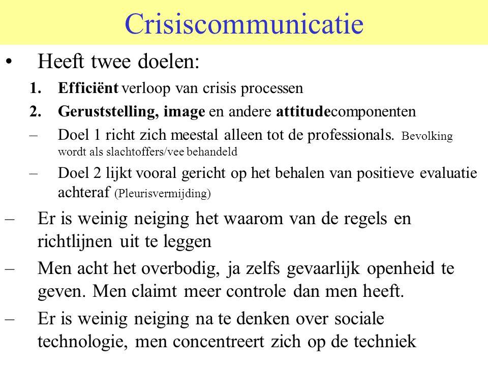Crisiscommunicatie Heeft twee doelen: 1.Efficiënt verloop van crisis processen 2.Geruststelling, image en andere attitudecomponenten –Doel 1 richt zich meestal alleen tot de professionals.