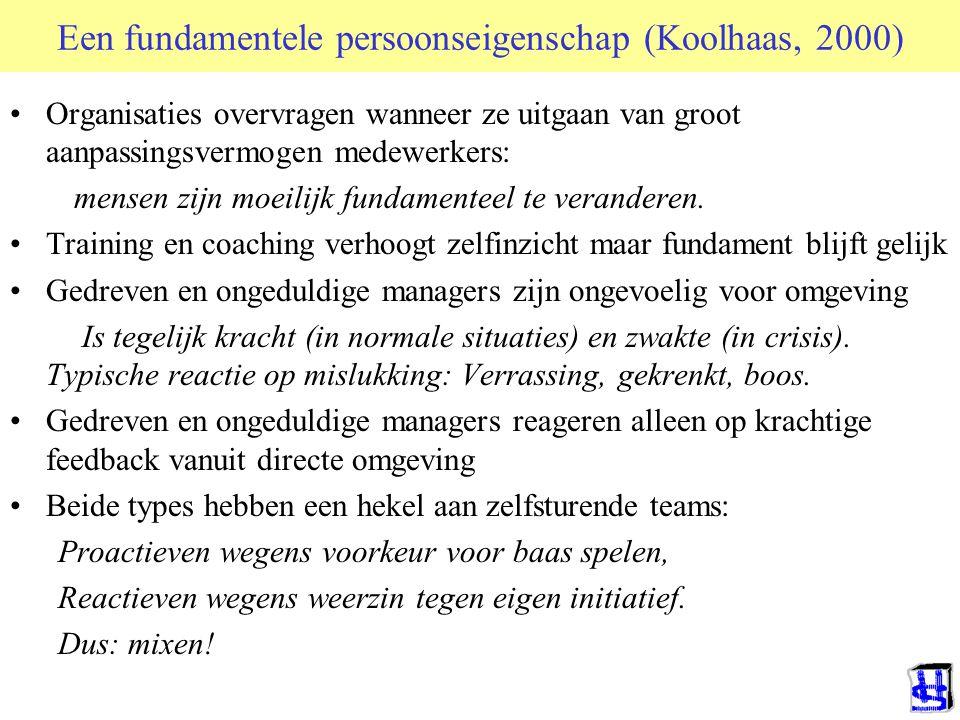 Een fundamentele persoonseigenschap (Koolhaas, 2000) Organisaties overvragen wanneer ze uitgaan van groot aanpassingsvermogen medewerkers: mensen zijn moeilijk fundamenteel te veranderen.
