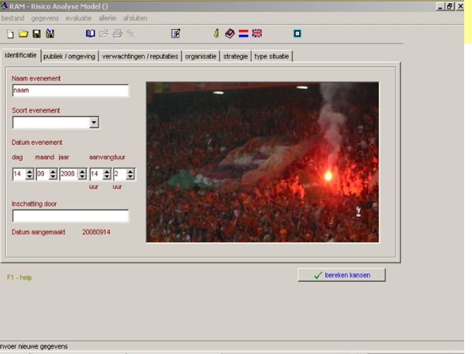 RAM 1 Start pagina Hier de gevraagde info geven die dient ter identificatie van evenement en beoordelaar