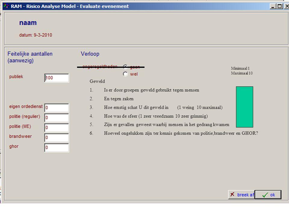 RAM 7 Evaluatiepagina Op deze pagina kunt U gegevens kwijt over de feitelijke afloop van het evenement Vul hier in hoeveel publiek er aanwezig was en