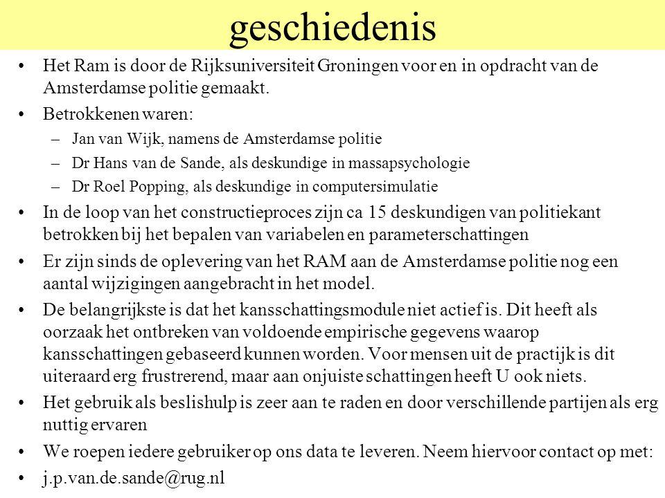 geschiedenis Het Ram is door de Rijksuniversiteit Groningen voor en in opdracht van de Amsterdamse politie gemaakt. Betrokkenen waren: –Jan van Wijk,