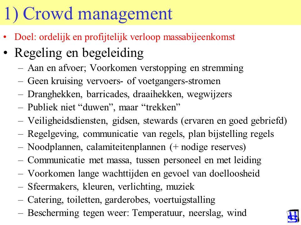 © 2006 JP van de Sande RuG 1) Crowd management Doel: ordelijk en profijtelijk verloop massabijeenkomst Regeling en begeleiding –Aan en afvoer; Voorkom