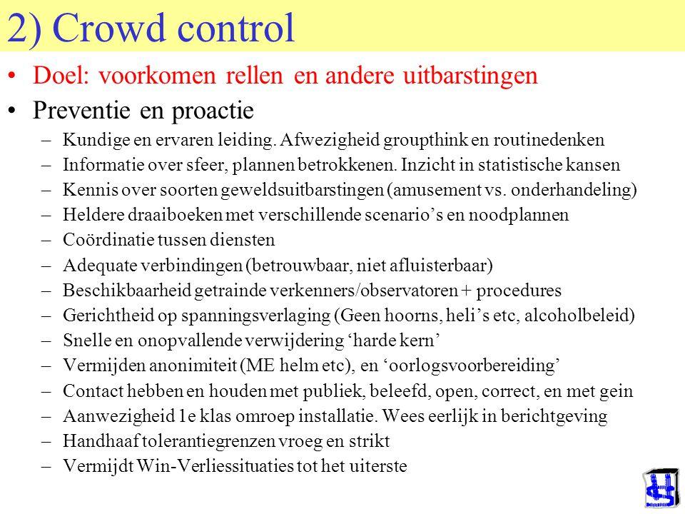 © 2006 JP van de Sande RuG 2) Crowd control Doel: voorkomen rellen en andere uitbarstingen Preventie en proactie –Kundige en ervaren leiding. Afwezigh