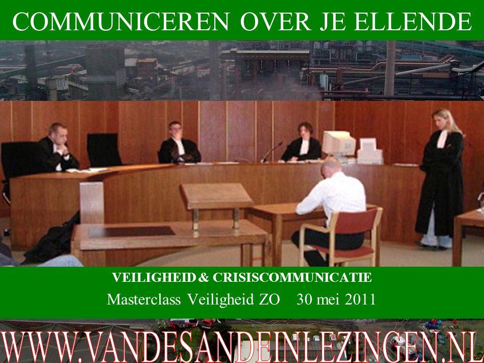 VEILIGHEID & CRISISCOMMUNICATIE Masterclass Veiligheid ZO 30 mei 2011 COMMUNICEREN OVER JE ELLENDE