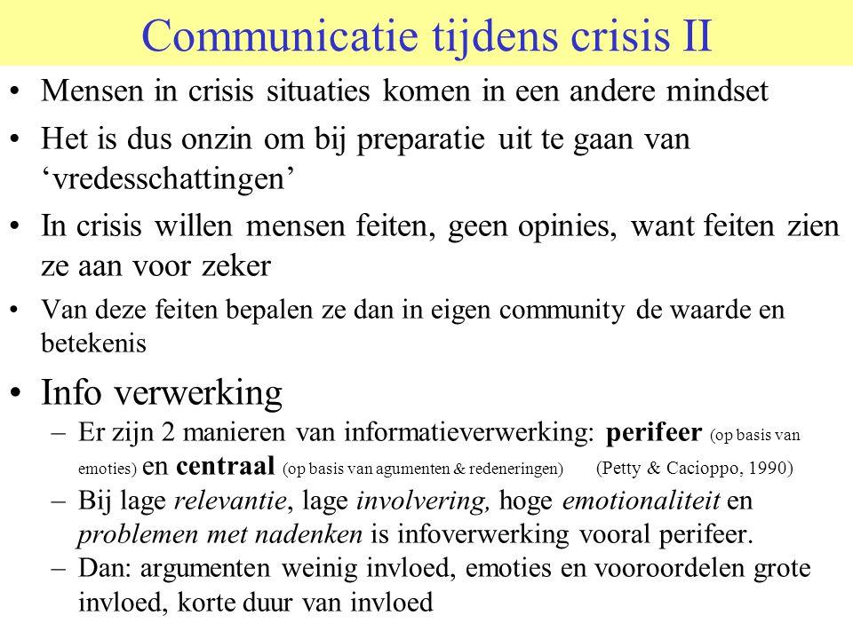 Communicatie tijdens crisis II Mensen in crisis situaties komen in een andere mindset Het is dus onzin om bij preparatie uit te gaan van 'vredesschattingen' In crisis willen mensen feiten, geen opinies, want feiten zien ze aan voor zeker Van deze feiten bepalen ze dan in eigen community de waarde en betekenis Info verwerking –Er zijn 2 manieren van informatieverwerking: perifeer (op basis van emoties) en centraal (op basis van agumenten & redeneringen) (Petty & Cacioppo, 1990) –Bij lage relevantie, lage involvering, hoge emotionaliteit en problemen met nadenken is infoverwerking vooral perifeer.