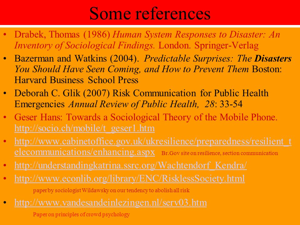 Some references Drabek, Thomas (1986) Human System Responses to Disaster: An Inventory of Sociological Findings. London. Springer-Verlag Bazerman and