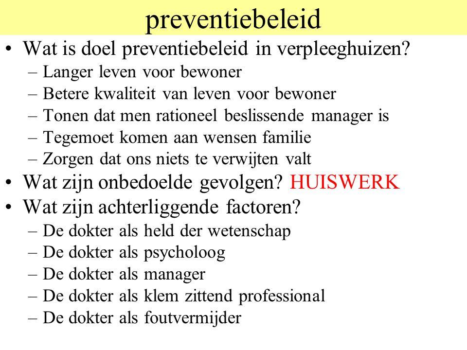 preventiebeleid Wat is doel preventiebeleid in verpleeghuizen.
