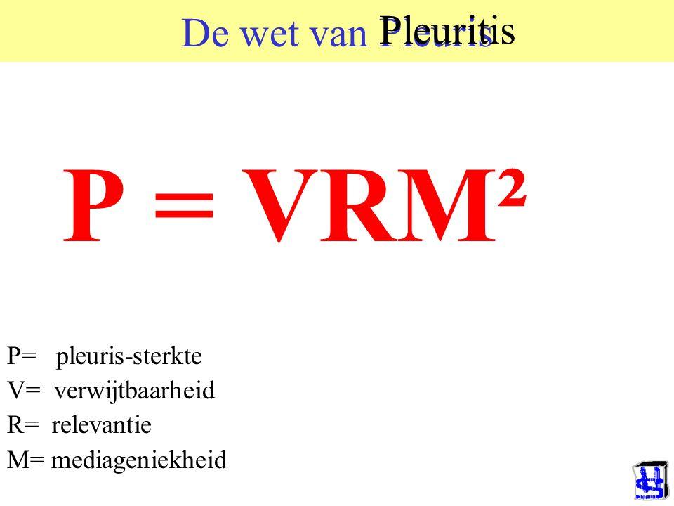 De wet van Pleuris P = VRM² P= pleuris-sterkte V= verwijtbaarheid R= relevantie M= mediageniekheid Pleuritis