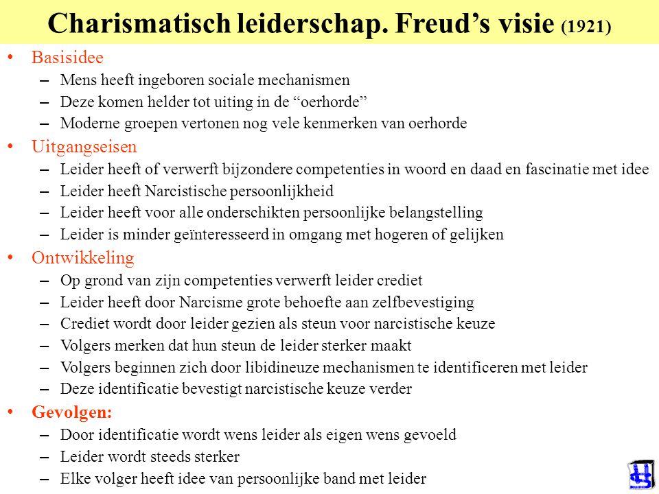 """Charismatisch leiderschap. Freud's visie (1921) Basisidee – Mens heeft ingeboren sociale mechanismen – Deze komen helder tot uiting in de """"oerhorde"""" –"""