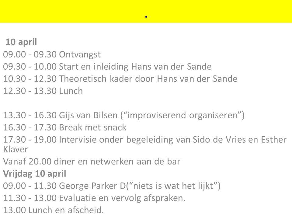 ©vandeSandeinlezingen,2011. 10 april 09.00 - 09.30 Ontvangst 09.30 - 10.00 Start en inleiding Hans van der Sande 10.30 - 12.30 Theoretisch kader door