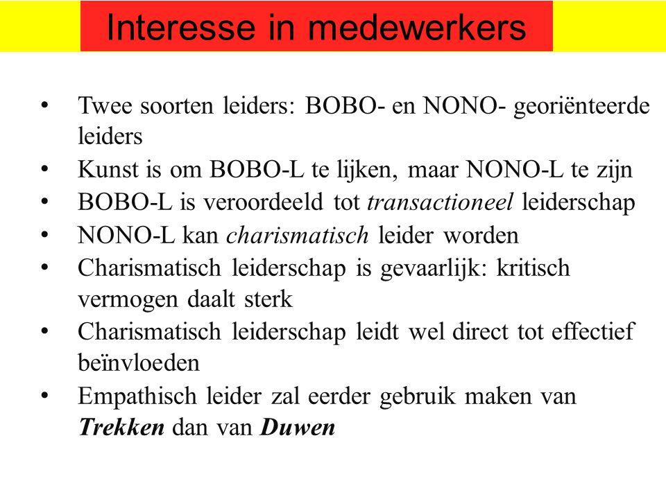©vandeSandeinlezingen,2014 Twee soorten leiders: BOBO- en NONO- georiënteerde leiders Kunst is om BOBO-L te lijken, maar NONO-L te zijn BOBO-L is vero