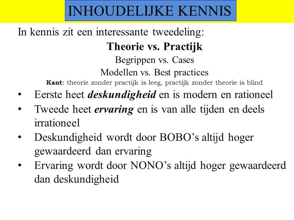 ©vandeSandeinlezingen,2014 kennis In kennis zit een interessante tweedeling: Theorie vs. Practijk Begrippen vs. Cases Modellen vs. Best practices Kant