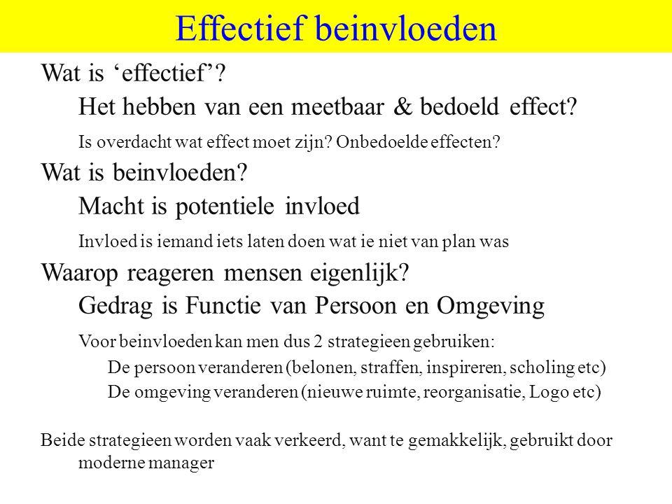 ©vandeSandeinlezingen,2014 Effectief beinvloeden Wat is 'effectief'? Het hebben van een meetbaar & bedoeld effect? Is overdacht wat effect moet zijn?