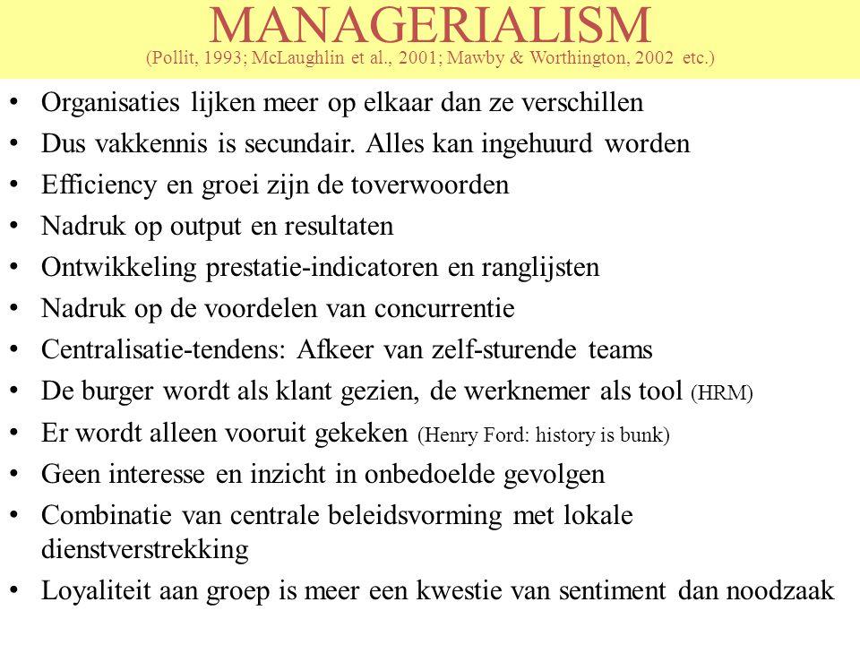 MANAGERIALISM (Pollit, 1993; McLaughlin et al., 2001; Mawby & Worthington, 2002 etc.) Organisaties lijken meer op elkaar dan ze verschillen Dus vakken