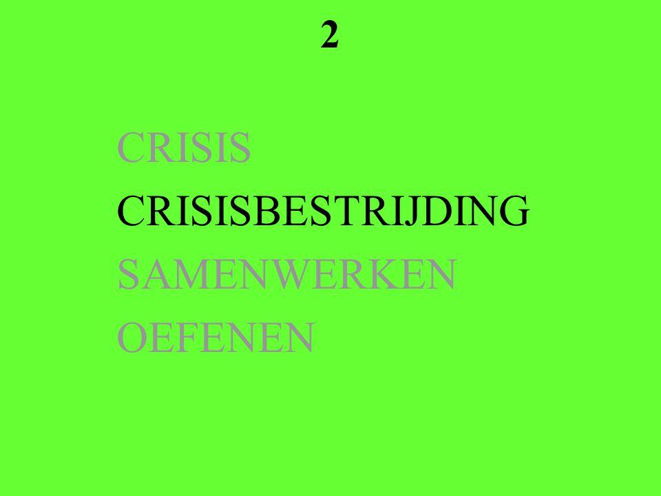 2 CRISIS CRISISBESTRIJDING SAMENWERKEN OEFENEN