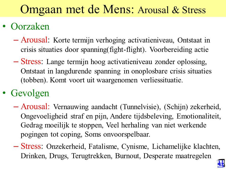 © 2006 JP van de Sande RuG Omgaan met de Mens: Arousal & Stress Oorzaken – Arousal: Korte termijn verhoging activatieniveau, Ontstaat in crisis situat