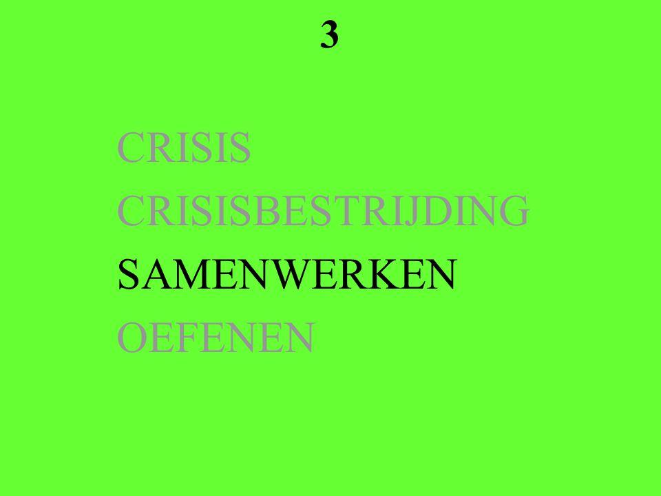 3 CRISIS CRISISBESTRIJDING SAMENWERKEN OEFENEN