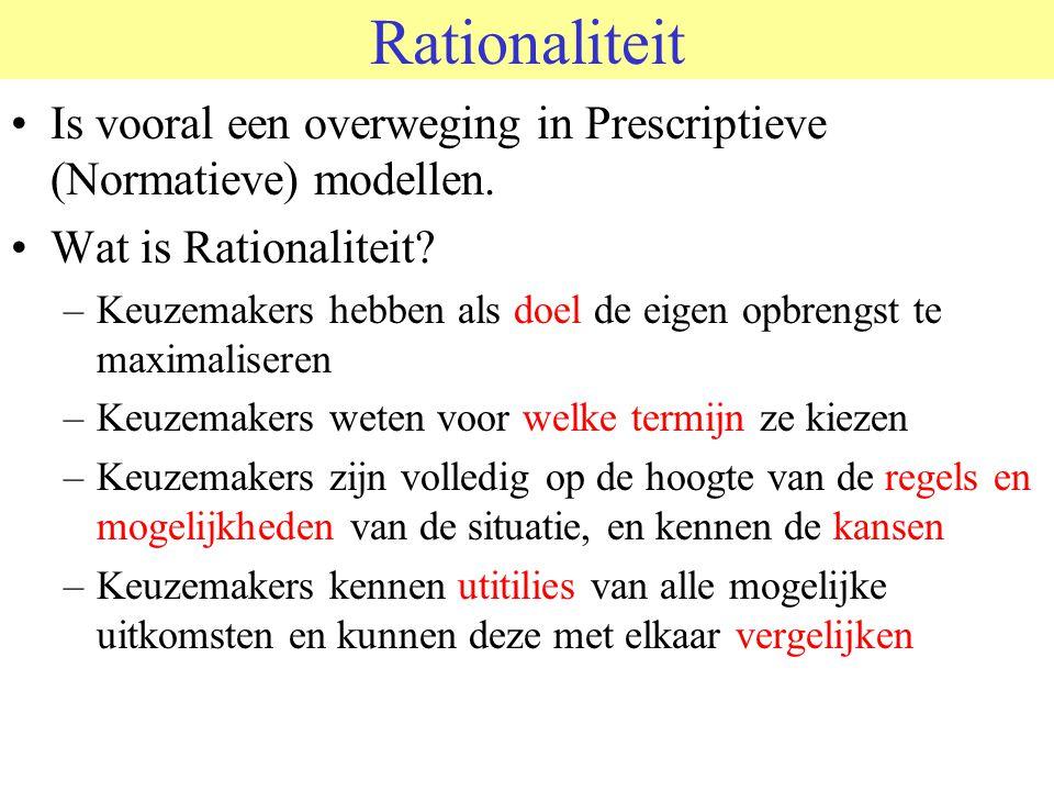 © 2006 JP van de Sande RuG Rationaliteit Is vooral een overweging in Prescriptieve (Normatieve) modellen.