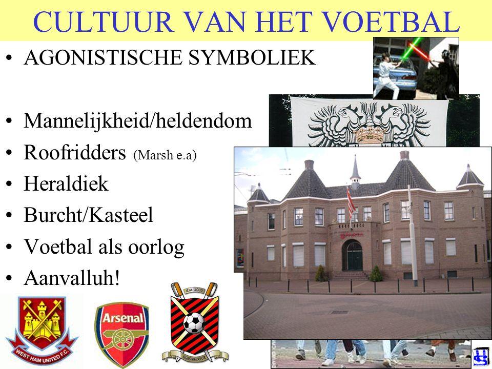 CULTUUR VAN HET VOETBAL AGONISTISCHE SYMBOLIEK Mannelijkheid/heldendom Roofridders (Marsh e.a) Heraldiek Burcht/Kasteel Voetbal als oorlog Aanvalluh!