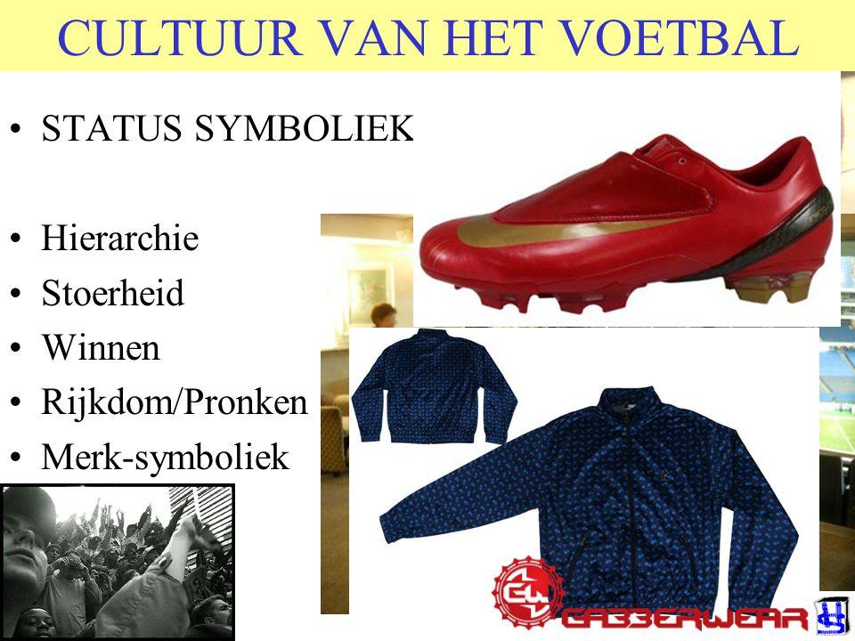 CULTUUR VAN HET VOETBAL STATUS SYMBOLIEK Hierarchie Stoerheid Winnen Rijkdom/Pronken Merk-symboliek