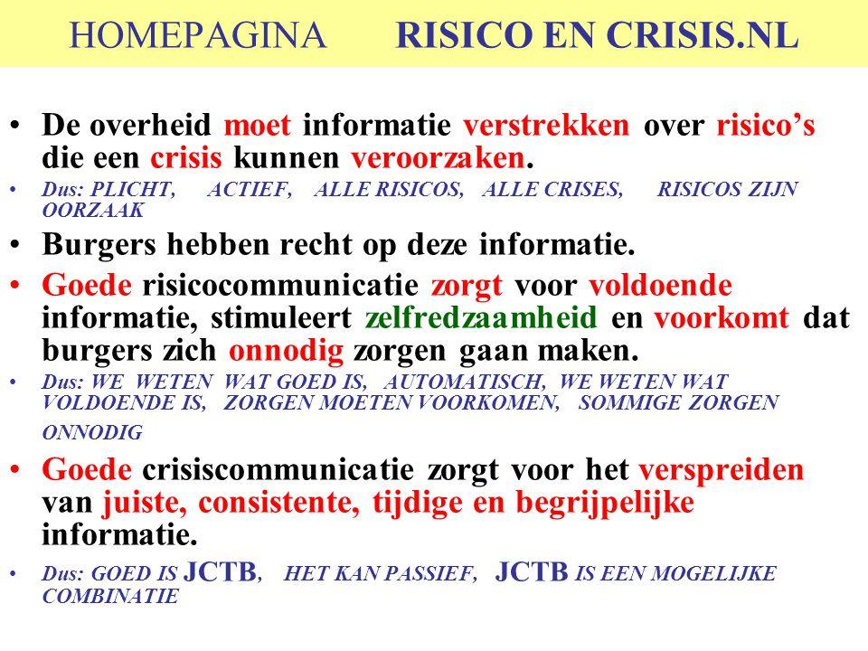 HOMEPAGINA RISICO EN CRISIS.NL De overheid moet informatie verstrekken over risico's die een crisis kunnen veroorzaken. Dus: PLICHT, ACTIEF, ALLE RISI