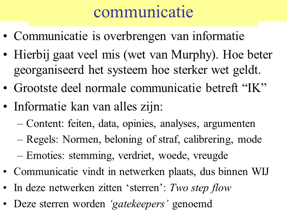 communicatie Communicatie is overbrengen van informatie Hierbij gaat veel mis (wet van Murphy).