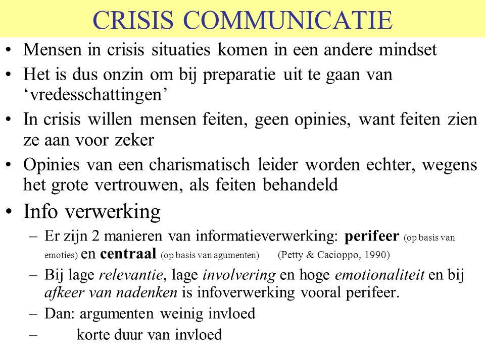 CRISIS COMMUNICATIE Mensen in crisis situaties komen in een andere mindset Het is dus onzin om bij preparatie uit te gaan van 'vredesschattingen' In crisis willen mensen feiten, geen opinies, want feiten zien ze aan voor zeker Opinies van een charismatisch leider worden echter, wegens het grote vertrouwen, als feiten behandeld Info verwerking –Er zijn 2 manieren van informatieverwerking: perifeer (op basis van emoties) en centraal (op basis van agumenten) (Petty & Cacioppo, 1990) –Bij lage relevantie, lage involvering en hoge emotionaliteit en bij afkeer van nadenken is infoverwerking vooral perifeer.