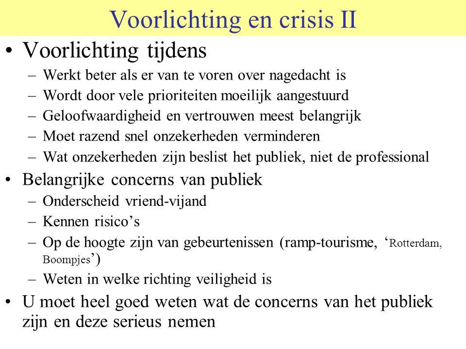 Voorlichting en crisis II Voorlichting tijdens –Werkt beter als er van te voren over nagedacht is –Wordt door vele prioriteiten moeilijk aangestuurd –Geloofwaardigheid en vertrouwen meest belangrijk –Moet razend snel onzekerheden verminderen –Wat onzekerheden zijn beslist het publiek, niet de professional Belangrijke concerns van publiek –Onderscheid vriend-vijand –Kennen risico's –Op de hoogte zijn van gebeurtenissen (ramp-tourisme, ' Rotterdam, Boompjes ') –Weten in welke richting veiligheid is U moet heel goed weten wat de concerns van het publiek zijn en deze serieus nemen