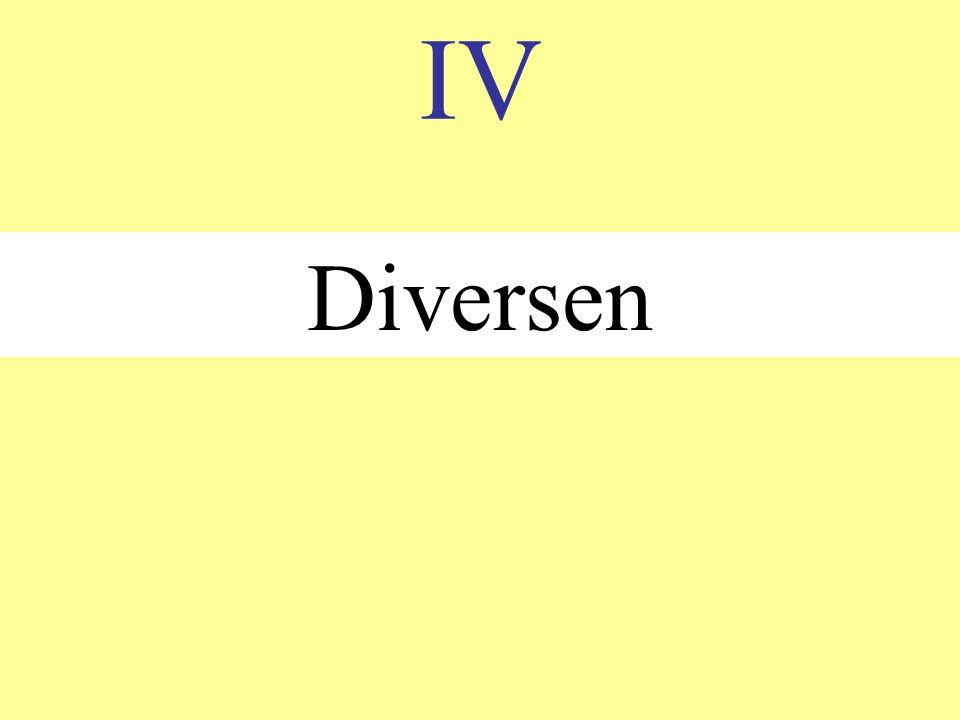 IV Diversen