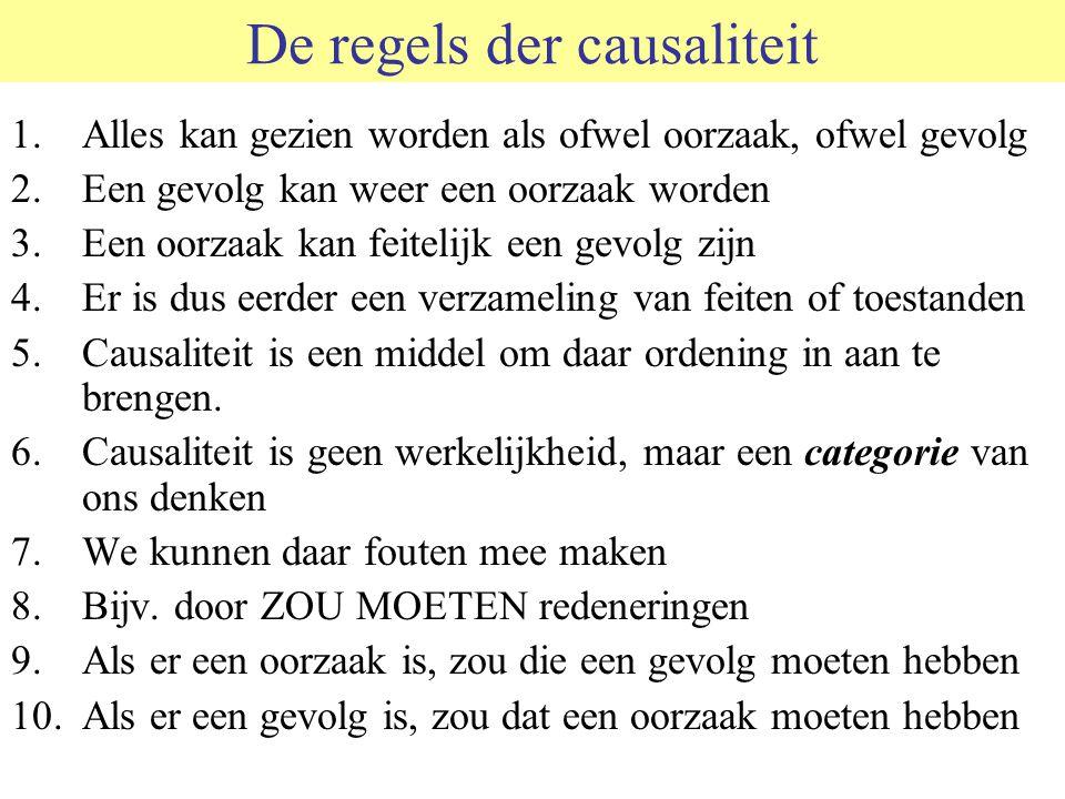 De regels der causaliteit 1.Alles kan gezien worden als ofwel oorzaak, ofwel gevolg 2.Een gevolg kan weer een oorzaak worden 3.Een oorzaak kan feiteli