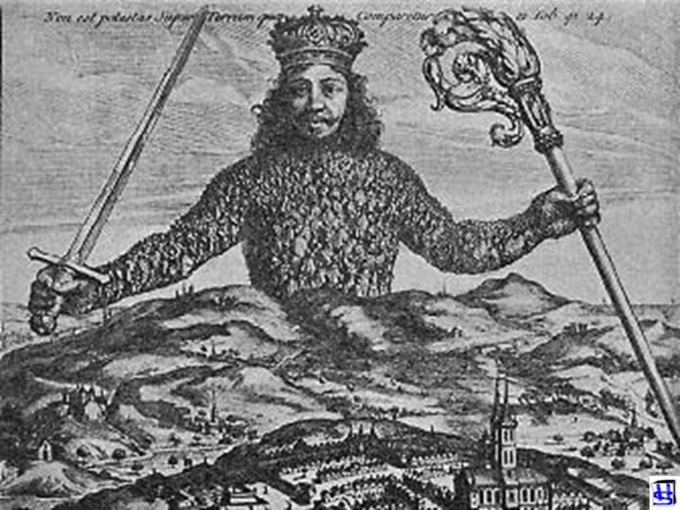 EEN WAT SOMBER MAN THOMAS HOBBES (1588-1679) LEVIATHAN De mens is de mens tot wolf De oorlog van allen tegen allen Staat moet daarom voor orde zorgen
