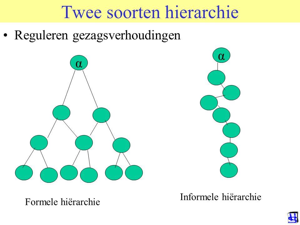 Twee soorten hierarchie Reguleren gezagsverhoudingen α α Formele hiërarchie Informele hiërarchie